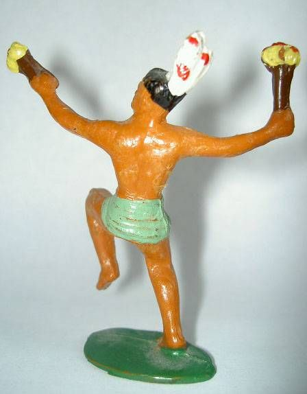 Starlux - Incas Series 53 - Footed Dancing with torch (green - white feathers) (ref 190)