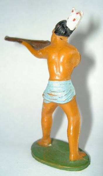 Starlux - Incas Series 53 - Footed Firing rifle standing (blue - white feathers) (ref 181)