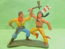 Starlux - Indians - Series Luxe 55/56 - Footed Fighting with cow-boy (ref 2838)
