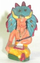 Starlux - Indians - Series Regular 53 - Footed Medecine-Man (yellow blue headgear) (ref 201)