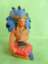 Starlux - Indians - Series Regular 53 - Footed Medecine-Man seated (red blue headgear) (ref 201)