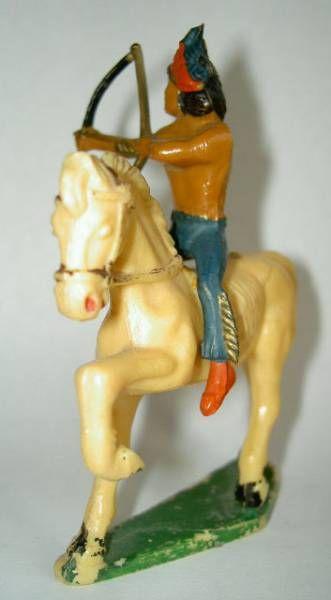 Starlux - Indians - Series Regular 53 - Mounted Bowman variation (blue) white walking horse (ref 433)