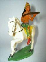 Starlux - Indians - Series Regular 53 - Mounted Firing rifle (blue) white walking horse (ref 431)