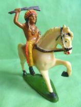 Starlux - Indians - Series Regular 53 - Mounted Raising rifle (yellow) white walking horse (ref 432)