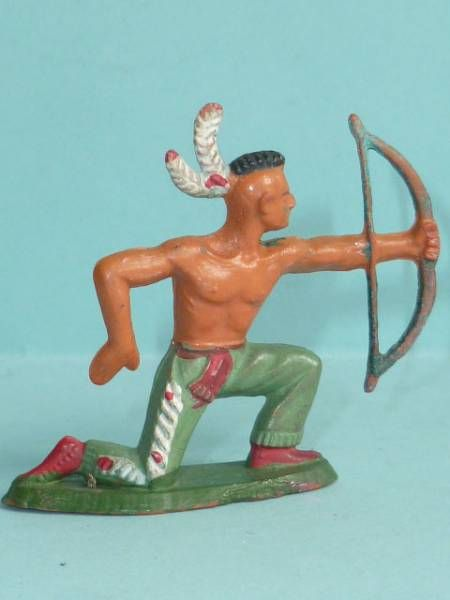 Starlux - Indians - Series Regular 57 - Footed Bowman kneeling (green) (ref 144)