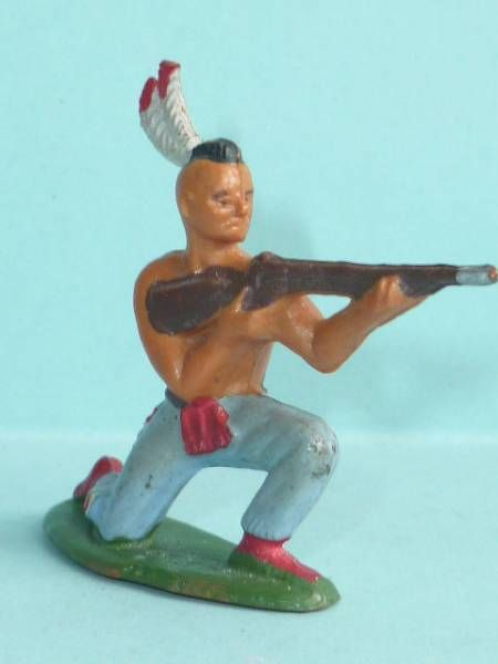 Starlux - Indians - Series Regular 57 - Footed Firing rifle kneeling (blue) (ref 142)