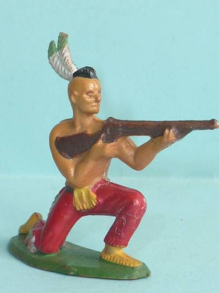Starlux - Indians - Series Regular 57 - Footed Firing rifle kneeling (red) (ref 142)
