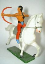 Starlux - Indians - Series Regular 65 - Mounted Bowman (red & blue) white troting horse  (ref 427)