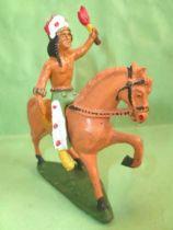 Starlux - Indiens - Série Ordinaire 53 - Cavalier Torch (green) orange walking horse (ref 439)