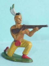 Starlux - Indiens - Série Ordinaire 57 - Piéton Tireur Fusil genoux (jaune) (réf 142)