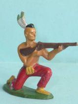 Starlux - Indiens - Série Ordinaire 57 - Piéton Tireur Fusil genoux (rouge) (réf 142)