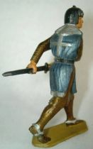 Starlux - Middle-age - serie 58 - ref  6010 (gold base) - footed crusader decladding is sword (dark blue)
