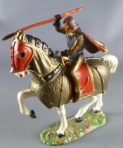 Starlux - Middle-age - serie 59 - ref  6103 - Mounted with stake & cape on white horse with caparacon