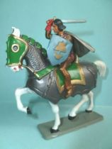 Starlux - Middle-age - serie 59 - ref  6105 bis - mounted with sword & shield on white horse with caparacon