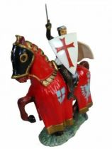 Starlux - Middle-age - serie 60 - ref 6111 - mounted templar on 1961 walking brown horse with red jousting robe