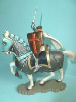 Starlux - Middle-age - serie 60 - ref 6111 - mounted templar on 1961 walking white horse with old gold caparacon