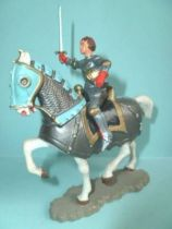 Starlux - Middle-age - serie 60 - ref 6201 - mounted J.d\'Arc with sword & helmet on 1963 walking white horse with grey caparaco