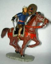 Starlux - middle-age - serie 64 - ref 6117 bis - mounted raising shield (blue & gold) brown galloping horse