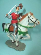 Starlux - Middle-age - serie 64 - ref 6119 bis - mounted fighting lord (green & silver) white galloping horse