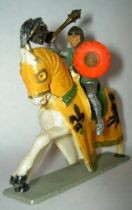 Starlux - Middle-age - serie 66 - ref  6123 hg - mounted masse shield white galloping horse with orange jousting robe