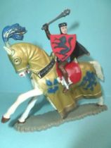 Starlux - Middle-age - serie 66 - ref  6125 hg - mounted masse cape & shield white galloping horse with gold jousting robe