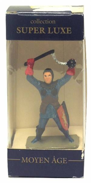 Starlux - middle-age - serie Starlux 2000 (Super Luxe series) - footed trooper with mace (blue & brown) Mint in box (ref FH42009