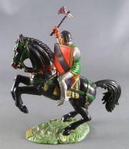Starlux - Moyen-âge - série 59 - réf 6104 - Cavalier hache & bouclier cheval noir cabré