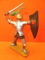 Starlux - Moyen-âge - série 62 - réf 6038 (socle gris) - piéton chevalier armure combattant