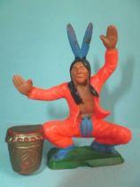 Starlux - Nestlé Kohler 1st Séries - Indians -  Footed kneeling tam-tam (orange) N° 25