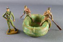 Starlux 30mm - Militaire - Commando Canot avec 2 soldats pagayant & homme grenouille (réf 1352)