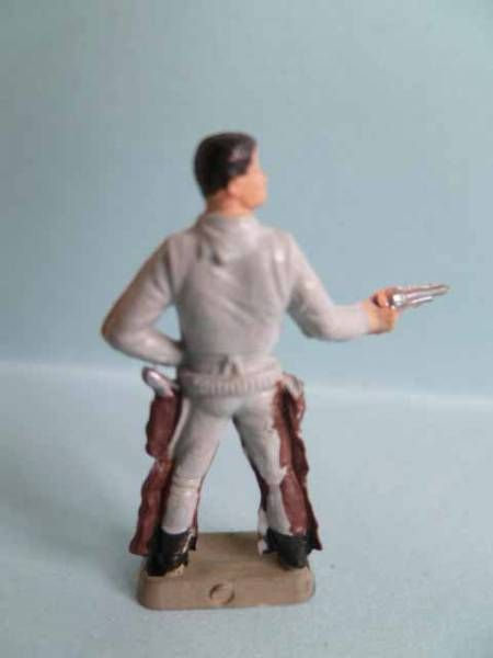 Starlux 35mm (1/50°) - Wild West Cow-Boys- Firing pistol standing (grey & brown) (ref MCB 5128)