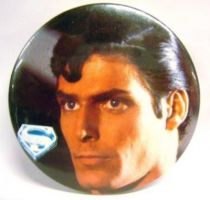 Superman (movie) - 1978 vintage botton - Superman\'s face