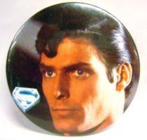 Superman (movie) - 1978 vintage botton - Superman\'s face
