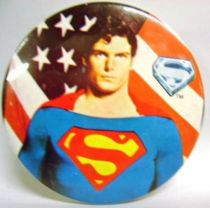 Superman (movie) - 1978 vintage botton - Superman with american flag