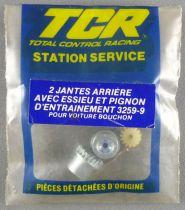 Tcr - 2 Jantes Arrières avec Essieu & Pignon Entrainement 3259-9 pour Voiture Bouchon Neuf Sachet