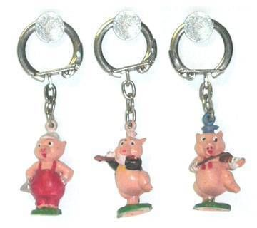 The 3 Little Pigs - Set of 3 Jim key chain figures