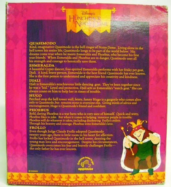 The Hunchback of Notre Dame - Set of  6 PVC Figures - Hugo, Quasimodo, Frollo, Esmeralda, Djali & Phoebus - Applause 1996