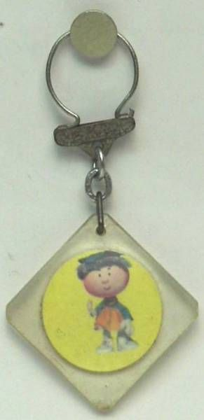 The Magic Roundabout,  square key-chain Florence yellow background