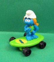 The Smurfs - Hardee\'s - Sasette bathing costume on green skateboard