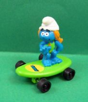 The Smurfs - Hardee\'s - Sasette bathing costume on green skateboard