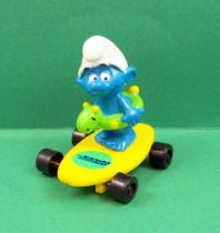 The Smurfs - Hardee\'s - Smurf with buoy on yellow skateboard
