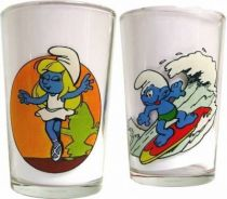 The Smurfs - Mustard glass Benedictin - Dancing Smurfette & Surfer Smurf