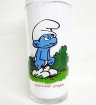 The Smurfs - Mustard glass Maille 1983 - Grouchy Smurf