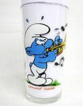 The Smurfs - Mustard glass Maille 1983 - Musician Smurf