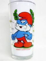 The Smurfs - Mustard glass Maille 1983 - Papa Smurf
