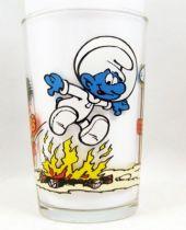 The Smurfs - Mustard glass Maille 1984 - Cosmosmurf & Schlimps