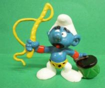 The Smurfs - Schleich - 20115 Tamer Smurf (light brown whip and short green seat)