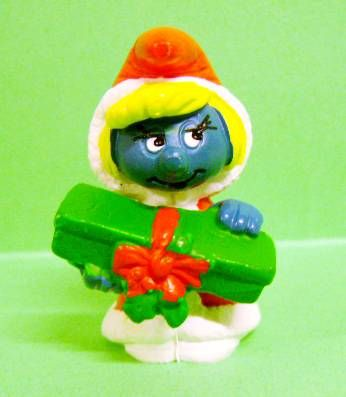 The Smurfs - Schleich - 20153 Christmas Smurfette with rectangular gift and long coat