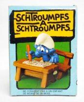 The Smurfs - Schleich - 40220 Schoolboy Smurf on school\'s bench (mint in box)
