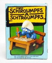 The Smurfs - Schleich - 40220 Schoolboy Smurf on school\'s bench (mint in box)
